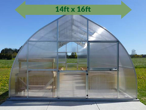 Image of Hoklartherm Riga XL 5 Greenhouse 14x16 with green srrow on top showing dimensions