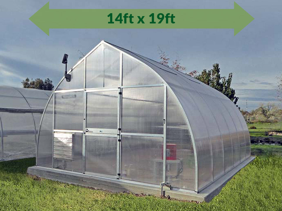 Hoklartherm Riga XL 6 Greenhouse 14x19 with green arrow on top showing dimensions