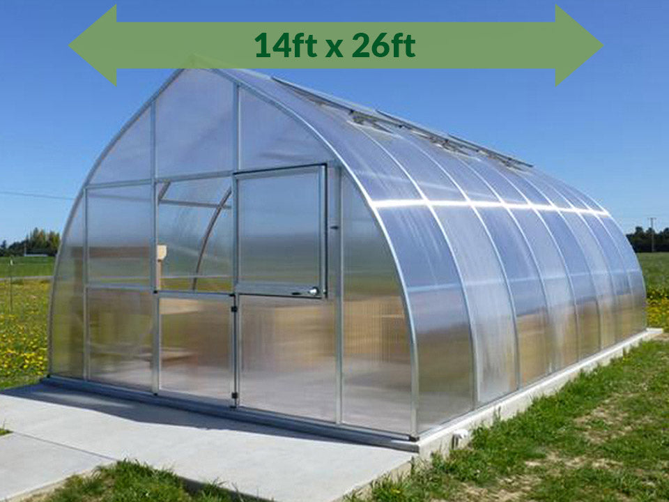 Hoklartherm Riga XL 8 Greenhouse 14x26 with green arrow on top showing dimensions