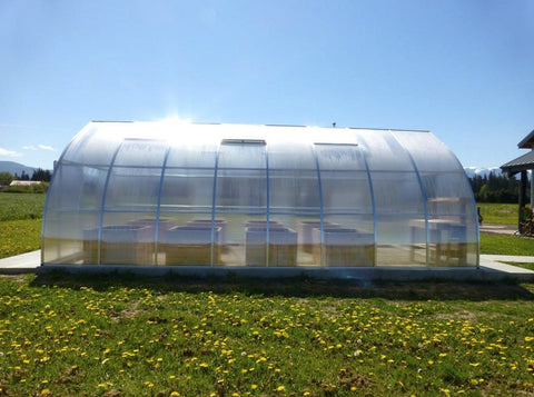 Hoklartherm Riga XL 8 Greenhouse 14x26 side view. Set up in a field