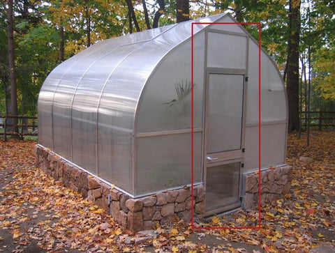 Hoklartherm Riga XL 9 Greenhouse 14x30 outer view showing the door extension kit