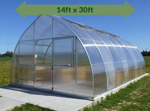 Hoklartherm Riga XL 9 Greenhouse 14x30 outer view with a green arrow on top showing dimensions