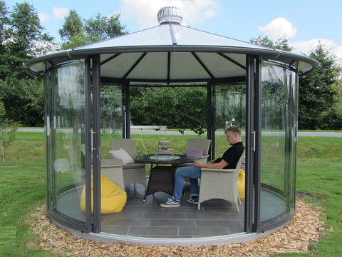 Hoklartherm Classico Garden Pavilion in Anthracite Grey with people sitting inside
