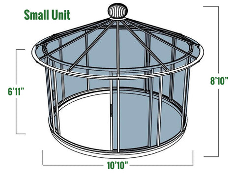 Dimensions of the Small Hoklartherm Classico Garden Pavilion
