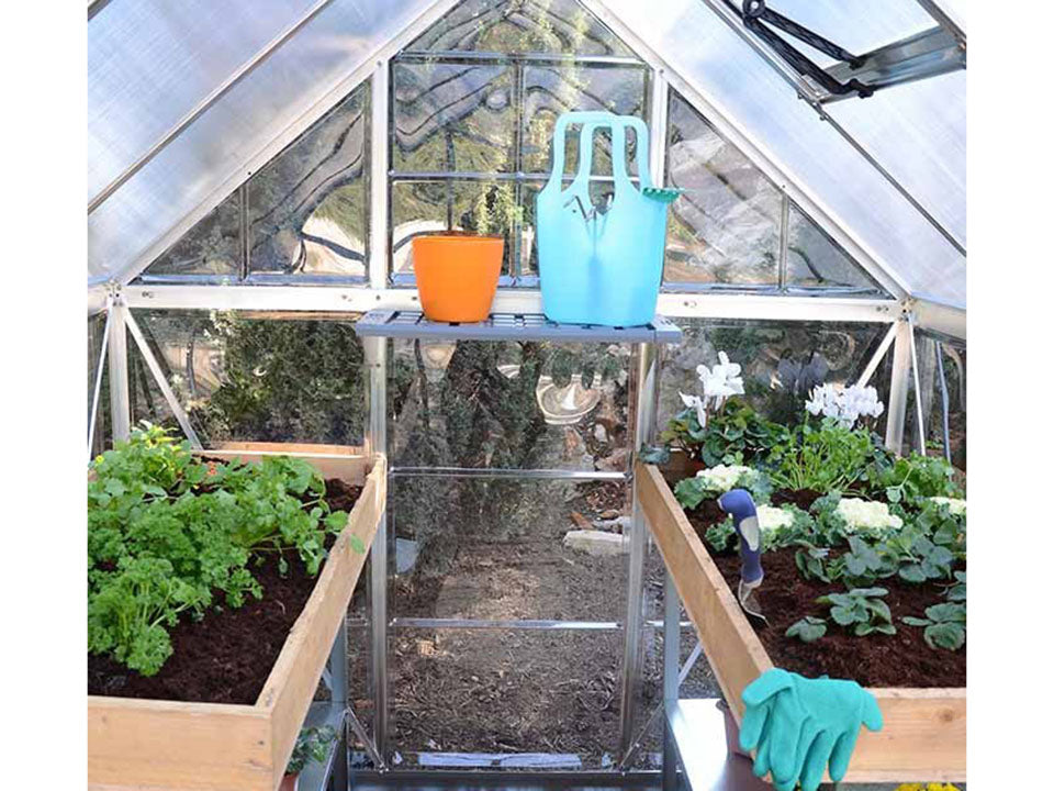 Palram Hybrid 6ft x 6ft Hobby Greenhouse-HG5506(G) - interior view with plants and accessories