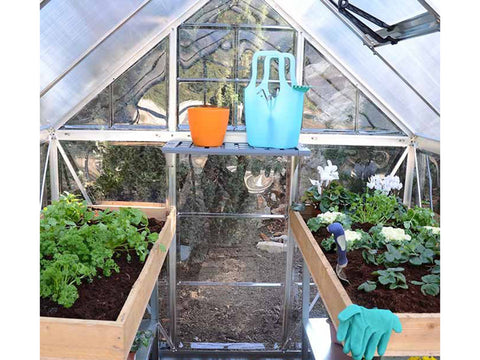 Palram Hybrid 6ft x 8ft Hobby Greenhouse-HG5508(G) - close up interior view with plants and accessories