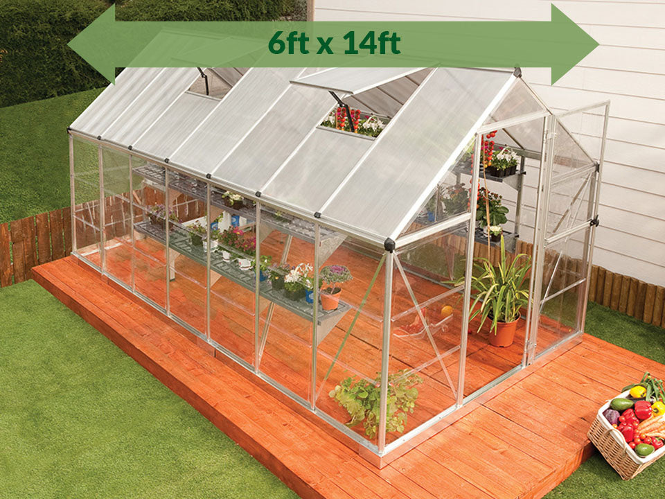 Palram Hybrid 6ft x 14ft Hobby Greenhouse-HG5514 - full view - green arrow on top