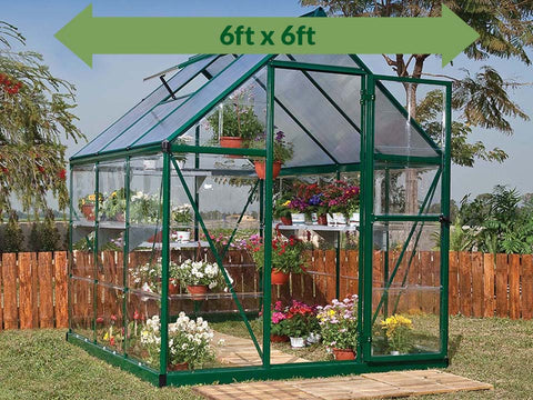 Palram Hybrid 6ft x 6ft Hobby Greenhouse-HG5506(G) - full view - green arrow on top - in a garden