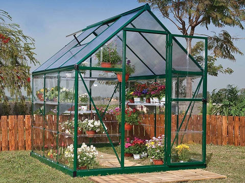 Palram Hybrid 6ft x 6ft Hobby Greenhouse-HG5506(G) - full view -  in a garden