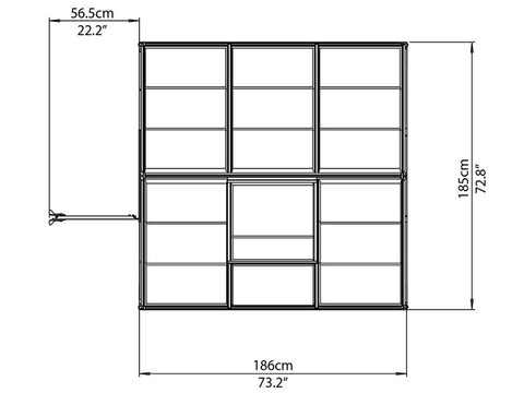 Palram Hybrid 6ft x 6ft Hobby Greenhouse-HG5506(G) - top view  of framework with dimensions