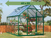 Image of Palram Hybrid 6ft x 8ft Hobby Greenhouse-HG5508(G) - full view - green arrow on top - in a garden