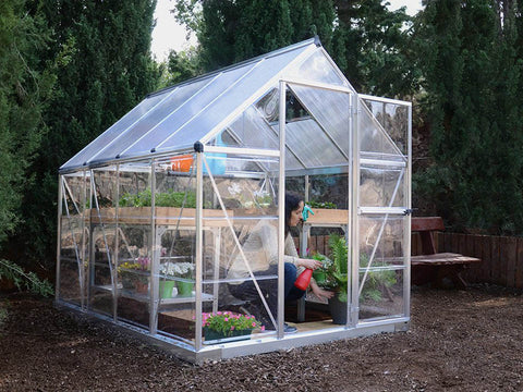 Palram Hybrid 6ft x 8ft Hobby Greenhouse-HG5508(G) - full view - in a garden