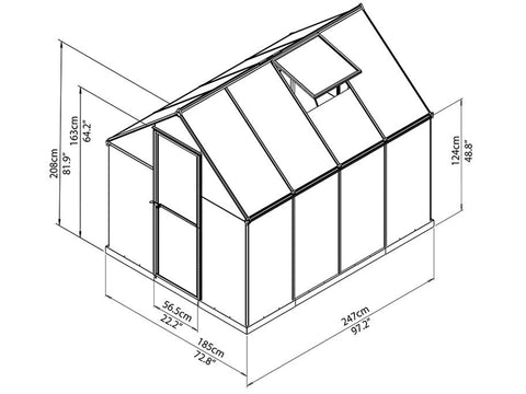 Palram Hybrid 6ft x 8ft Hobby Greenhouse-HG5508(G) - full view of framework with dimensions