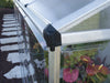 Image of Palram 4in x 8in Hybrid Lean-To - in close up - corner downspout -  with plants inside for Palram accessories
