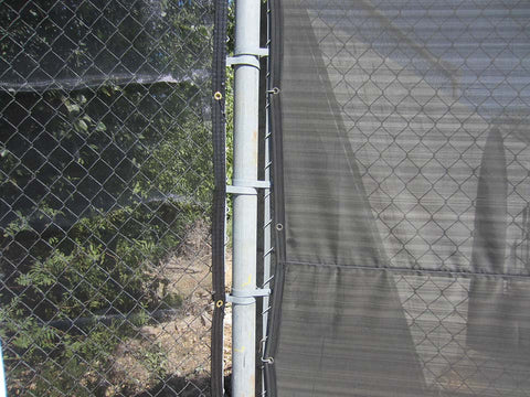 Close up look Riverstone Black Knitted Shade Cloth as a privacy fence