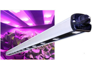 Illumitex Eclipse GEN2 LED Grow Light glowing over plants