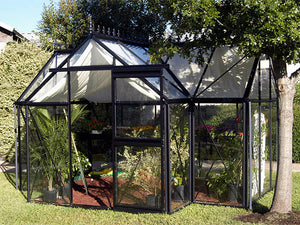 Frontal view of the Janssens T-Shaped Junior Victorian Orangerie with open sliding door