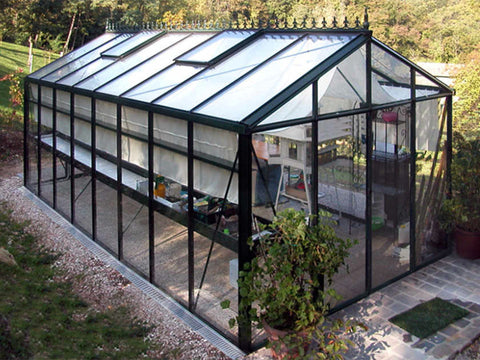Image of Janssens Royal Victorian VI36 Greenhouse 10ft x 20ft with closed doors and plants inside