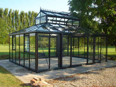 Black Janssens Cathedral Victorian Greenhouse 15ft x 20ft from the side