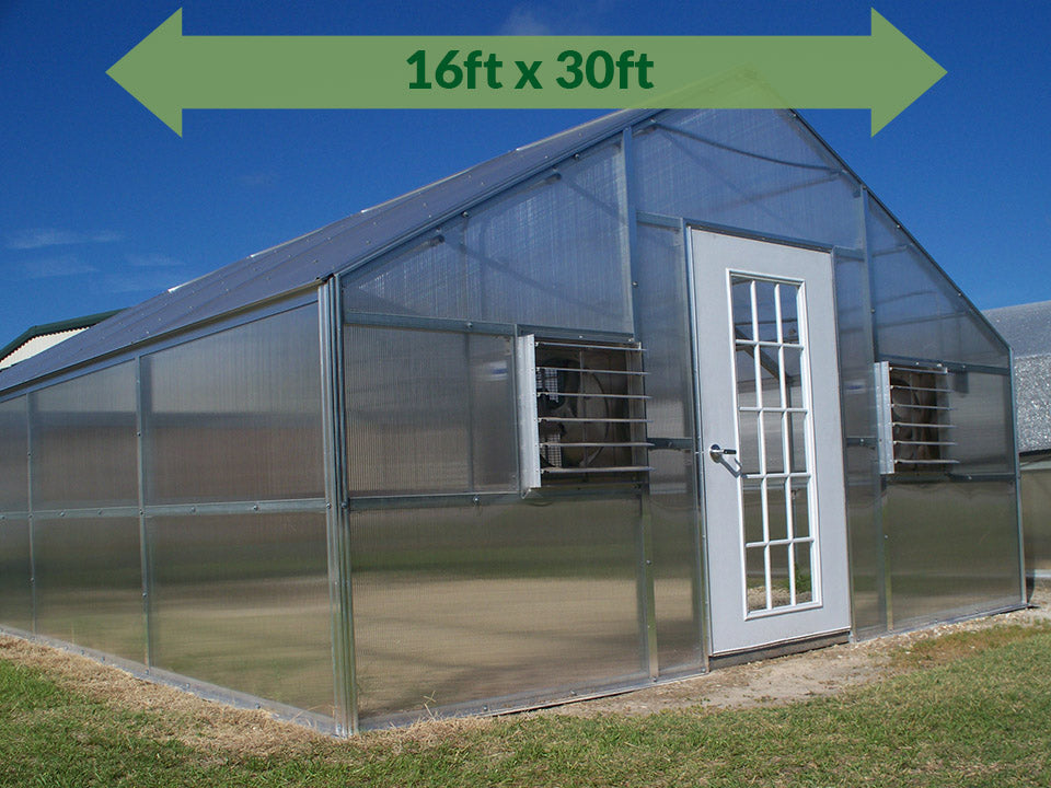 Riverstone Industries (RSI) 16ft x 30ft Jefferson Premium Educational Greenhouse  R16306-P(G) - full view - green arrow on top showing dimensions