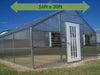 Image of Riverstone Industries (RSI) 16ft x 30ft Jefferson Premium Educational Greenhouse  R16306-P(G) - full view - green arrow on top showing dimensions