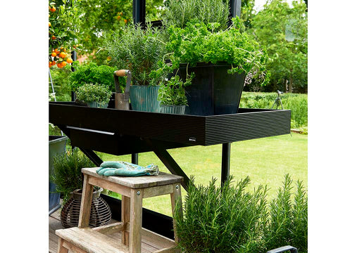 Juliana Oase Anthracite Toughened Glass 12ft x 12ft. Interior working bench with plants