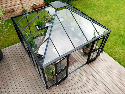 Juliana Oase Anthracite Toughened Glass 12ft x 12ft. Top View