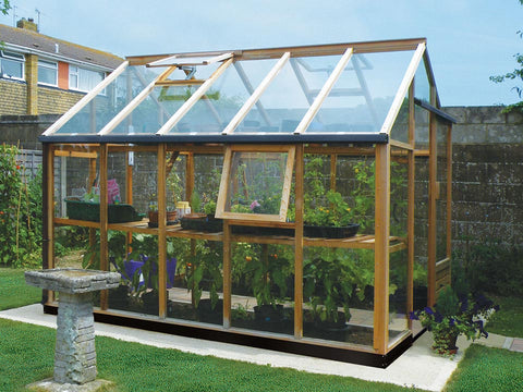 Image of Juliana Classic Greenhouse 8ft x 10ft - slightly opened windows - open roof vent - side view - in a garden