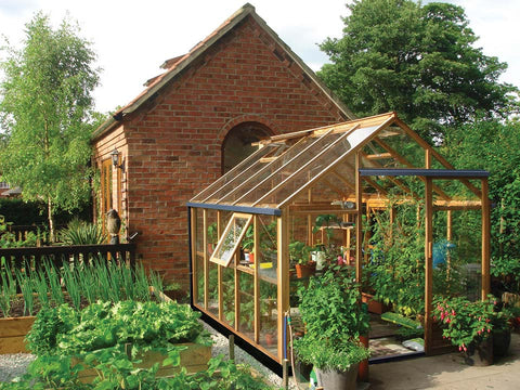 Juliana Classic Greenhouse 8ft x 10ft -opened window - open roof vent - front and side view - open door - in a garden