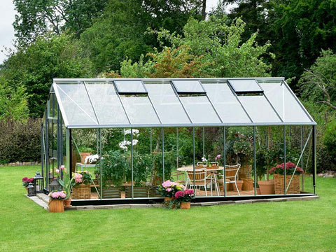 Image of Juliana Gardener Greenhouse 12ft x 19ft - 3mm toughened glass - side view - in a garden