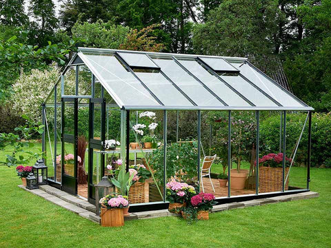 Juliana Gardener Greenhouse 12ft x 14ft - aluminum - 3mm toughened glass - open door - in a garden