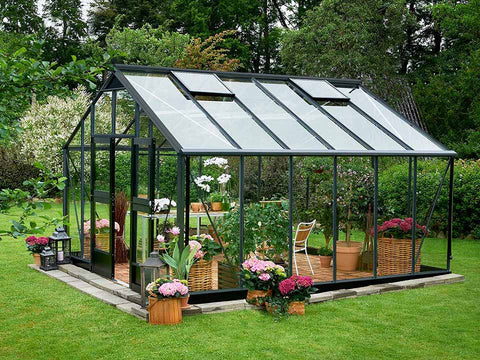 Juliana Gardener Greenhouse 12ft x 14ft - anthracite - 3mm toughened glass - open door - in a garden