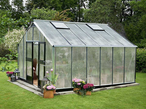 Image of Juliana Gardener Greenhouse 12ft x 14ft - aluminum - 10mm polycarbonate - in a garden