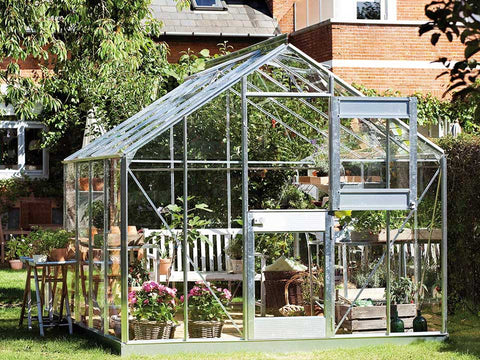 Juliana Junior Greenhouse 9ft x 10ft - Aluminum 3 mm Horticultural Glass