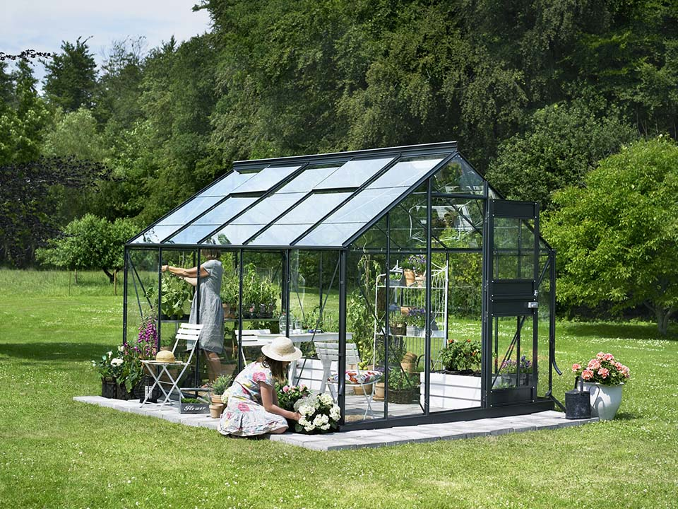 Juliana Junior Greenhouse 9ft x 12ft - Anthracite 3 mm Horticultural Glass