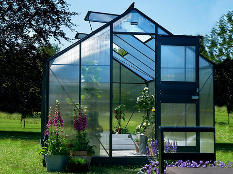 Image of Juliana Junior Greenhouse 9ft x 14ft - Anthracite 6 mm Polycarbonate - open door - open roof vents - front view - in a garden