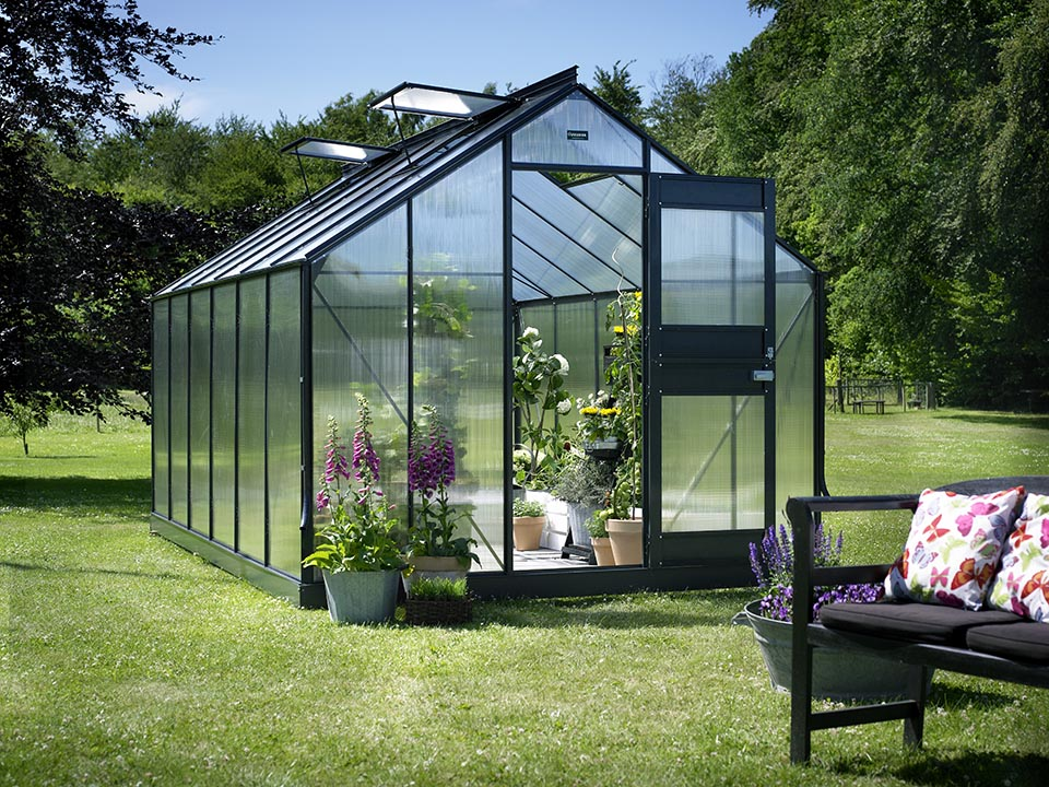 Juliana Junior Greenhouse 9ft x 14ft - Anthracite 6 mm Polycarbonate - open door open roof vents - front view - in a garden