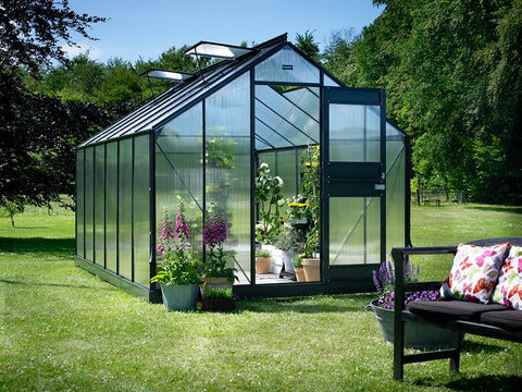 Image of Juliana Junior Greenhouse 9ft x 14ft - Anthracite 6 mm Polycarbonate - open door open roof vents - front view - in a garden