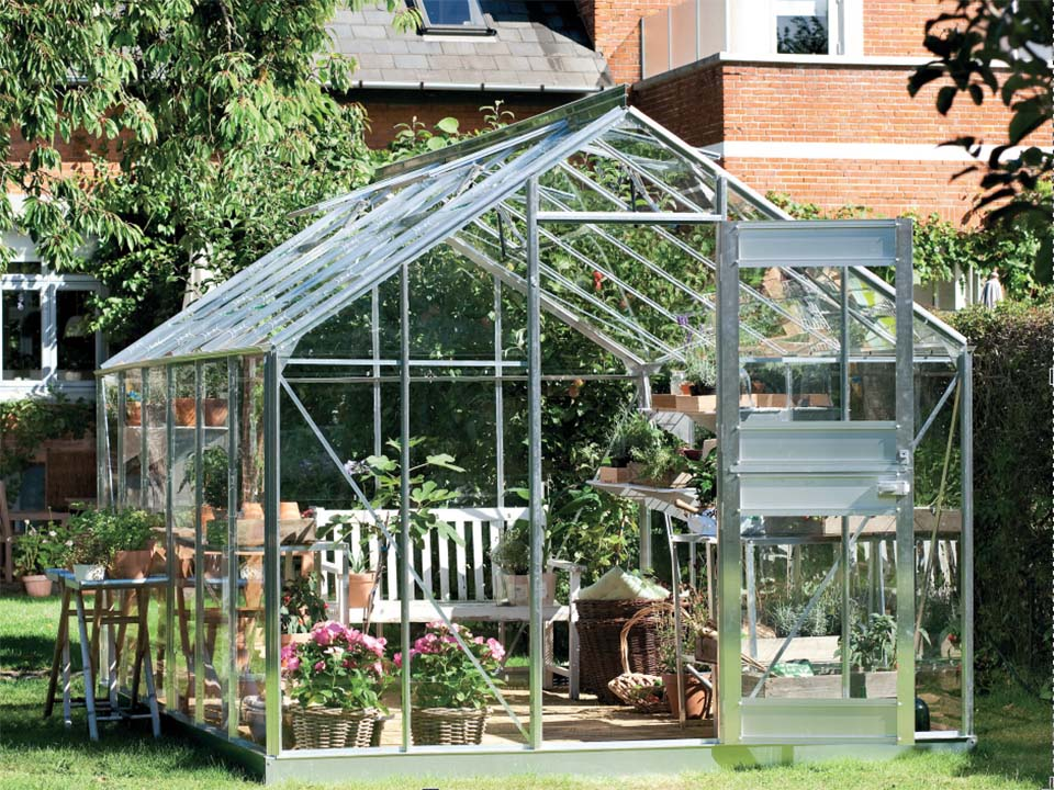 Juliana Junior Greenhouse 9ft x 14ft - Aluminum 3 mm Horticultural Glass