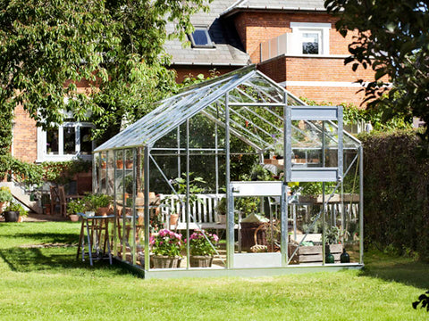Image of Juliana Junior Greenhouse 9ft x 14ft - Aluminum 3 mm Horticultural Glass - open door - in a garden