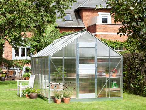 Image of Juliana Junior Greenhouse 9ft x 14ft - Aluminum 6 mm Polycarbonate - closed door