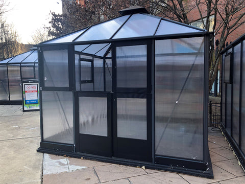 Bare Juliana 10x10 Polycarbonate with open left upper door