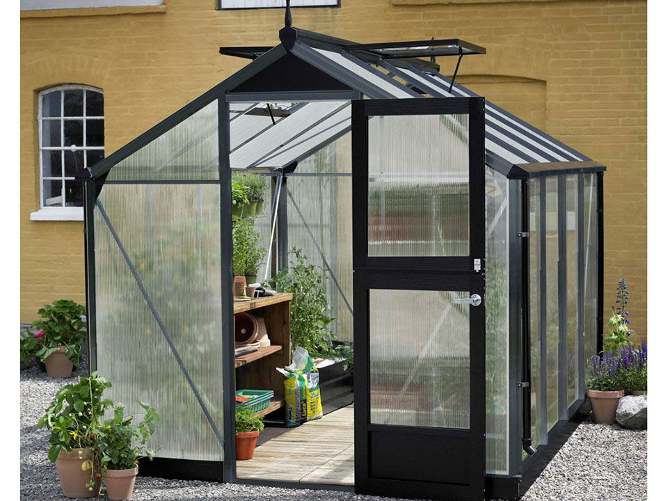 10 mm Polycarbonate glazing Anthracite Juliana Compact Greenhouse 7ft x 12ft