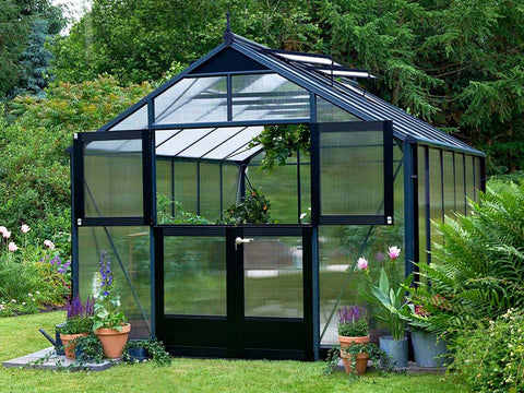 Juliana Premium Greenhouse 9ft x 14ft 10mm Polycarbonate. Upper part of the doors are open