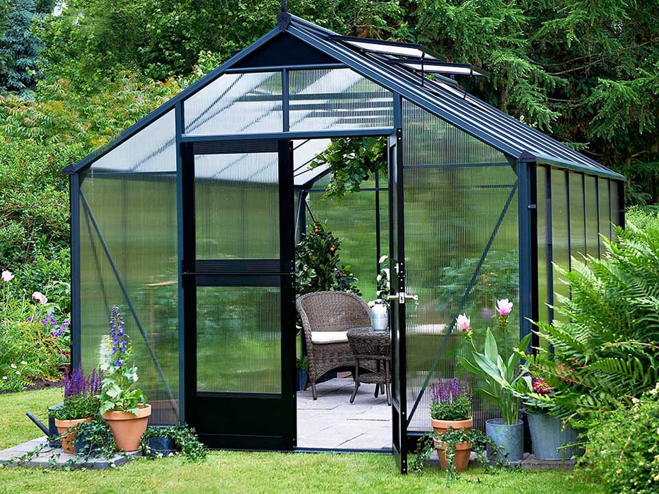 Juliana Premium Greenhouse 9ft x 14ft 10mm Polycarbonate. Open Right Door