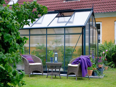 Image of Juliana Premium Greenhouse 9ft x 14ft 10mm Polycarbonate. Side view.