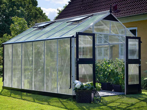 Juliana Premium Greenhouse 9ft x 14ft Aluminum 10mm Polycarbonate with plants inside