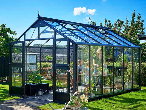 Image of Juliana Premium Greenhouse 9ft x 14ft Anthracite 3mm safety glass with three people inside