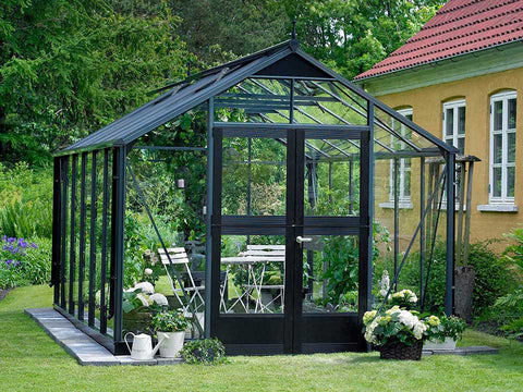 Juliana Premium Greenhouse 9ft x 14ft Anthracite 3mm safety glass with plants inside. Front View