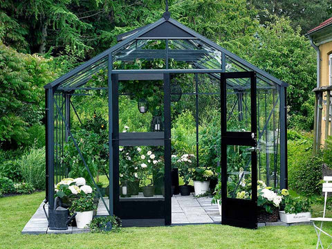 Image of Juliana Premium Greenhouse 9ft x 14ft Anthracite 3mm safety glass with plants inside. Front View Open Door